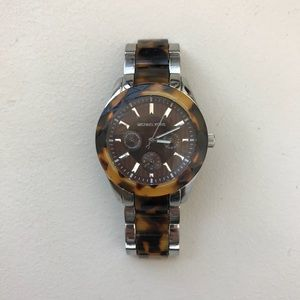 Michael Kors tortoise and stainless steel watch